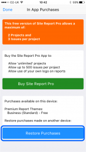 site-report-pro-restore-in-app-purchases